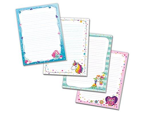 4 x Blöcke Schreibblock mit Kindermotiv Lama Meerjungfrau Eule Einhorn (4 Blöcke mit je 25 Blätter in A4-Format)