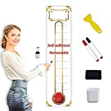 Fundraising Thermometer Chart Goal Tracker Decal - 48'x12' - Dry Erase Goal Setting Wall Poster Thermometer - Removable Giant Sales Goal Vinyal Sticker