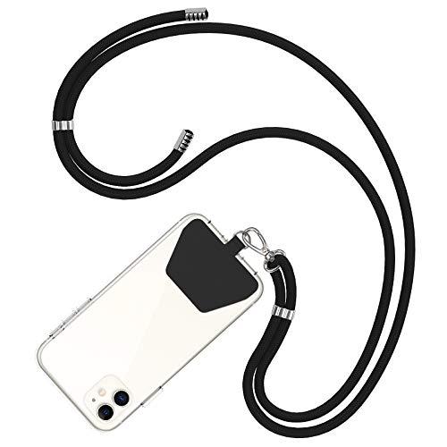 COCASES Cordino per Telefono,Regolabile Cordino Tracolla Universale Catena per Cellulare Compatibile con iPhone/Samsung/Huawei (Nero)