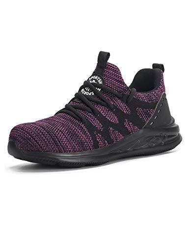 Letuwj Unisex Reflektierend Anti-Smash Praktisch industrielle Sneaker Verschleißschutz Weich Sicherheitsschuhe Arbeitsschuhe Lila