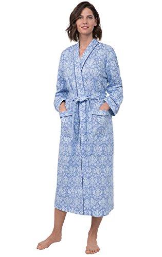 PajamaGram Printed Knit Bathrobe Womens - Womens Long Robes, Blue, M/L, 10-16