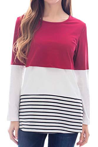 Smallshow Women's Long Sleeve Back Lace Maternity Nursing Tops Green Large