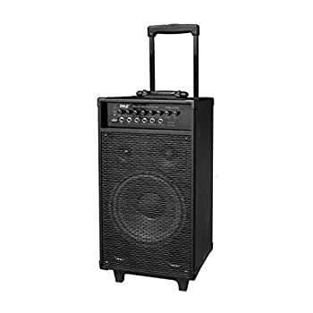 Pyle Outdoor Portable Wireless Bluetooth PA Loud speaker Stereo Sound System with 10 inch Subwoofer Mid-Range Tweeter Rechargeable Battery Microphone Remote - PWMA1050BT