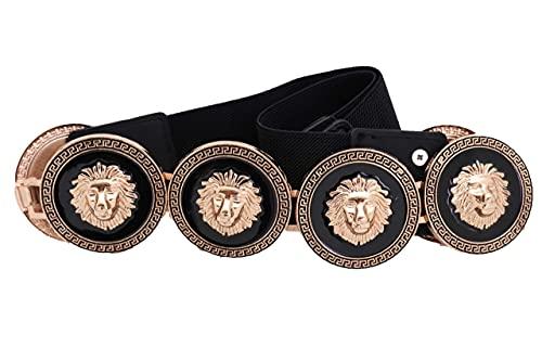 TFJ Women Fancy Fashion Black Elastic Waistband Belt Hip High Waist Gold Lion Metal Coin Buckle S M