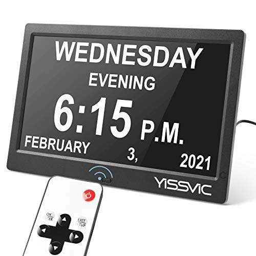 10inch Loud Talking Alarm Clock with Voice and Picture Alert Calendar Day Clock with Remote, 12 Alarms Themes, 9 Languages Non Abbreviated Display, Optional Digital Photo Frame Function by YISSVIC