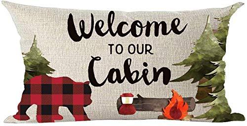 Mesllings - Funda de cojín de piña con diseño de oso de pino y texto en inglés 'Welcome to Our Cabin Forest', color negro, para decoración de chimenea, para el hogar, sala de estar, cama, sofá, coche, de lino y algodón, rectangular, 30 x 50 cm