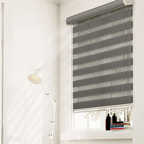 Chicology Free-Stop Cordless Zebra Roller Shades / Combi Blind Curtain Drape, Dual Layer, Sheer or Privacy - Striped Granite, 35'W X 72'H