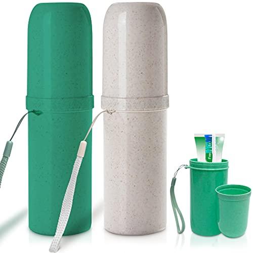 Zahnbürste Etui im 2er Set in Weiß und Grün Zahnbürsten Etui perfekt für Reisen Zahnbürsten Aufbewahrung als Reise Zahnbürste schutzkappe auch geeignet für Camping als Zahnputzbecher Set