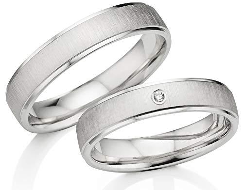 123traumringe 2x Trauringe/Eheringe Silber 925 in Juwelier-Qualität (Gravur/Ringmaßband/Etui/Nickelfrei/ohne Stein)