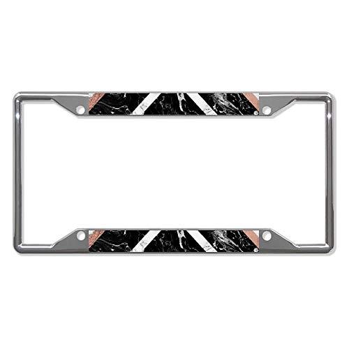 Modern Rose Gold Glitter Folie White Black Marmer G Car License Plate Frame Chroom Metaal Auto License Plat Frame Dag Holder Frame Cover - 30,5 x 15,2 cm voor Universele auto's