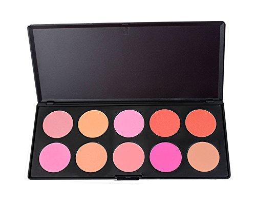 Pure Vie® 10 Couleurs Palette de Maquillage Blush Fard à Joues Poudre Cosmétique Set - Convient Parfaitement pour une Utilisation Professionnelle ou à la Maison