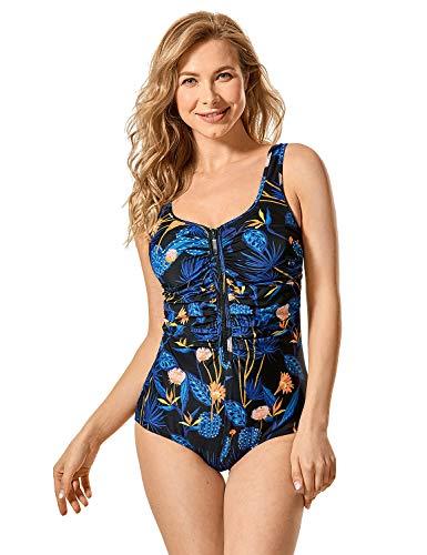 DELIMIRA Damen Einteiler Badeanzug - Vorne Reißverschluss,Schale Slim Bademode Mehrfarbig #8 42