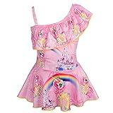 Lito Angels Traje de baño de Unicornio con Falda para niñas, una Pieza un Hombro, 5 a 6 Años, Rosa
