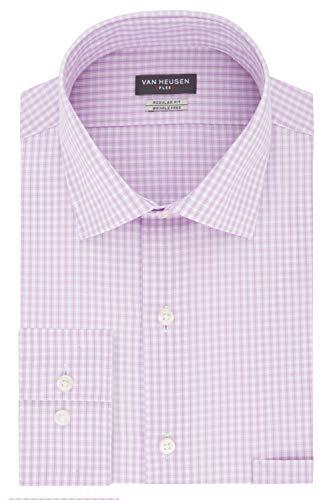 Van Heusen Men's Dress Shirt Regular Fit Flex Collar Check, Soft Lilac, 17.5' Neck 36'-37' Sleeve (X-Large)