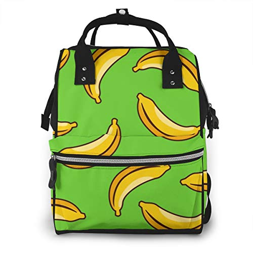 Yellow Banana Seamless Pattern Multi-Function Travel Backpack Nappy Bag,Fashion