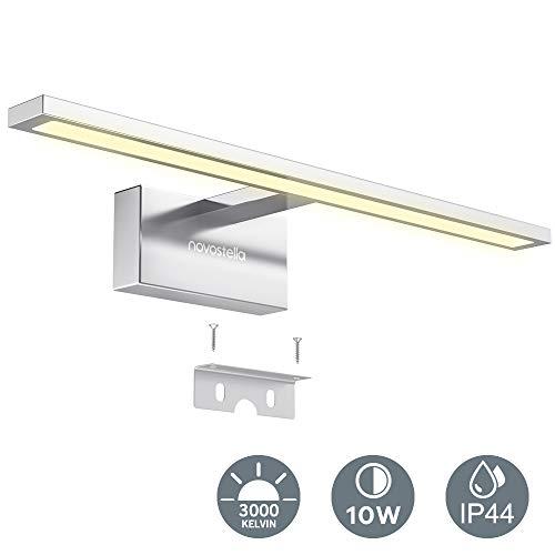 10W Luce Specchio Bagno, Novostella 750LM LED Alluminio Illuminazione Bagno, Bianco Caldo 3000K, Impermeabile IP44, Applique Faretto Specchio Arredo Bagno 400x125x60 mm