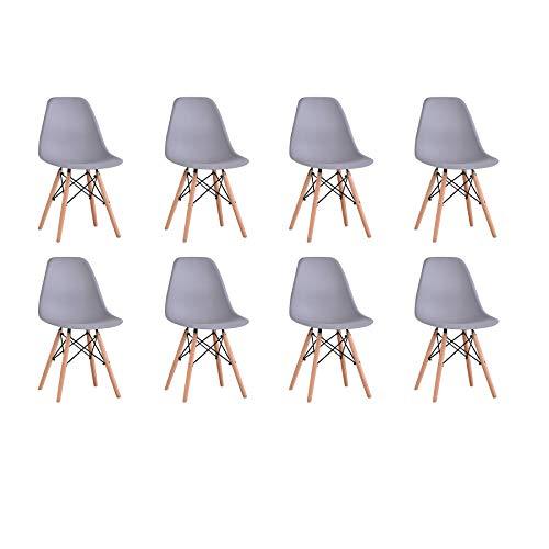 BenyLed 8er Set Modern Esszimmerstühle Wohnzimmerstuhl, Skandinavisch Armlose Stühle mit Solide Buchenholz Bein (Grau)