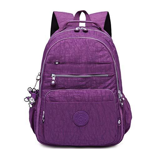 Gurscour Womens Men Lightweight Nylon Backpack SchoolBag Laptop Waterproof Backpack Rucksack Travel Casual Daypack 1322A-Purple
