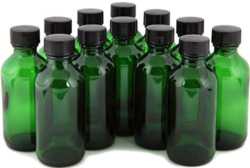 Vivaplex 12 Green 2 oz Glass Bottles with Lids