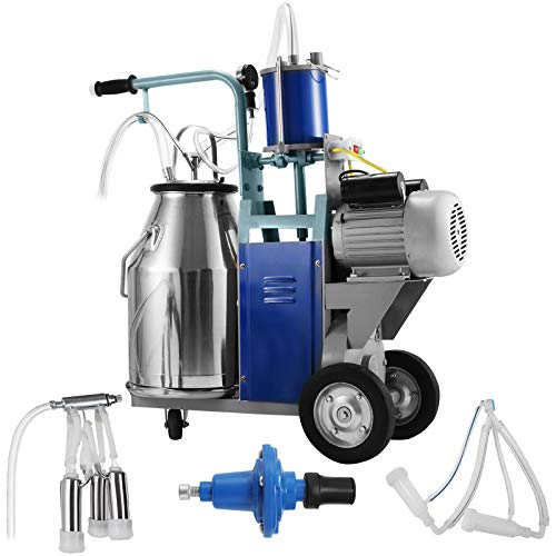 VEVOR Electric Milking Machine 1440rmp/min Portable Agricultural 0.55 KW with 25L 304 Stainless Steel Bucket for Cows and Sheep