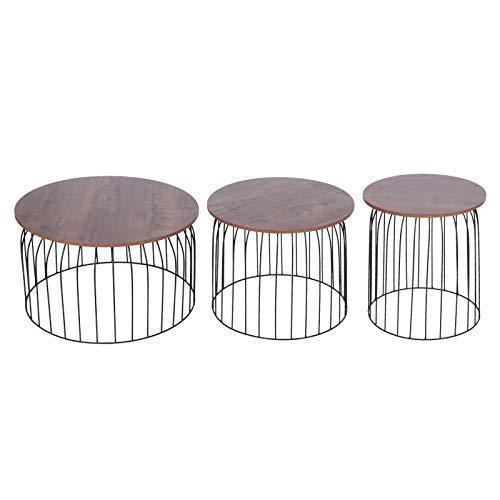 Cikonielf - Set di 3 tavolini, tavolini con telaio in ferro, per camera da letto, soggiorno e ufficio