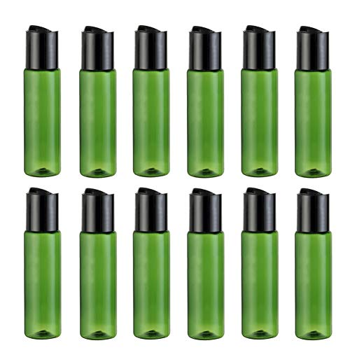 12 botes de plástico recargables de 30 ml, color verde, con tapa de prensa, para uso diario, para maquillaje, agua, aceite esencial, champú, gel de ducha