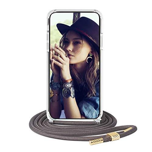 FMPC Funda con Cuerda Compatible con Xiaomi Mi Poco X3 NFC, Anti Golpes Case Transparente TPU Bumper PC Acrílico Trasero Carcasa Ajustable Correa de Cuello Cordón Collar, Gris