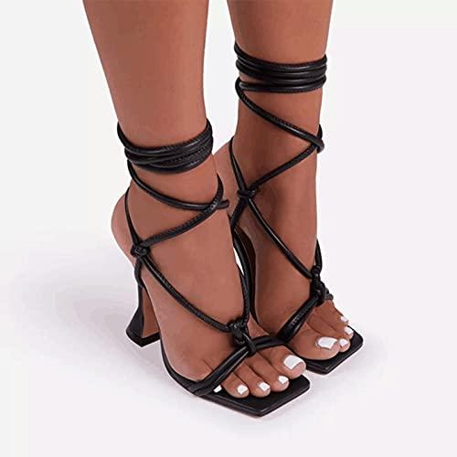 WoJogom Sandalias de Verano con Correa en el Tobillo para Mujer, Zapatos Finos de 10 cm de tacón Alto, Zapatos de Vestir de Fiesta, Sandalias Sexis de Moda para Mujer, Zapato de Punta Cuadrada para