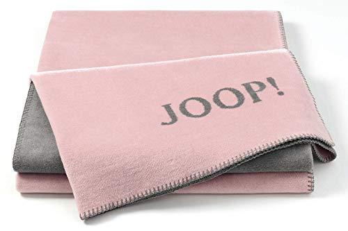 Joop!® Uni-Doubleface I flauschig-weiche Kuscheldecke Rosé-Graphit I Wohndecke aus Baumwolle in rosa I Tagesdecke 150x200cm | nachhaltig produziert in Deutschland I Öko-Tex Standard 100