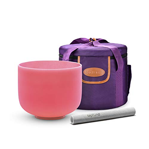 TOPFUND Pink F Note Crystal Singing Bowl Heart Chakra 10 inch with Heavy Duty Carrying Case and Singing Bowl Suede Striker
