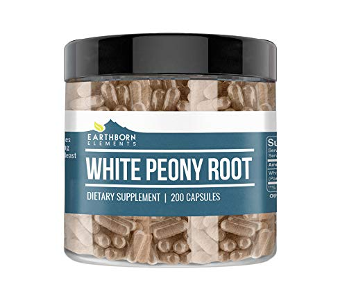 White Peony Root, 200 Capsules, 760 mg Serving, 100% Pure & Natural Herbal Supplement with No Fillers or Additives, Non-GMO, Premium Quality, Made in The USA by Earthborn Elements