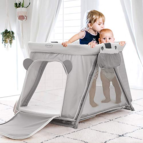 FUNNY SUPPLY 31 Pack n Play with Mattress and Sheet Portable Lightweight Sturdy Travel Cot Baby Travel Crib Push Button Compact Fold Easy to PackYard Grey Color