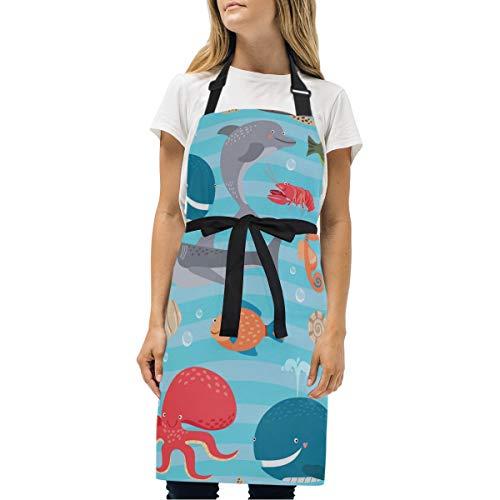 Mokale Schürze,Meeresbewohner-Nahtloser Hintergrund-Walhai,Unisex-Küchenlätzchen mit verstellbarem Hals zum Kochen im Garten, Erwachsenengröße