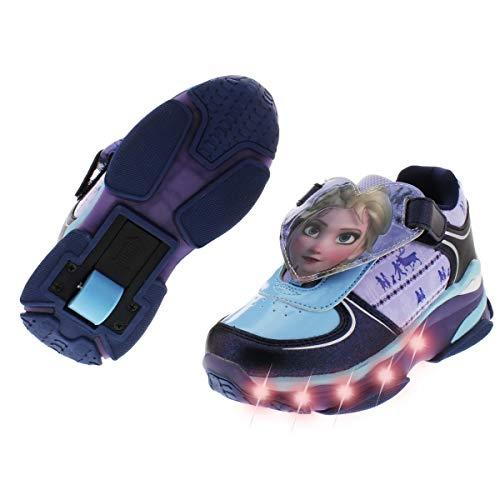 Fantasy Kids Tenis Patin para Niña Disney Frozen Elsa y Ana Zapatos con Patines Cierre con Velcro (Azul Lila, Measurement_20_Point_0_Centimeters)