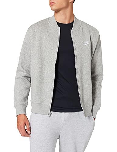 NIKE M NSW Club BOMBR JKT BB Jacket, dk Grey Heather/dk Grey Heather/Matte Silver/(White), Mens