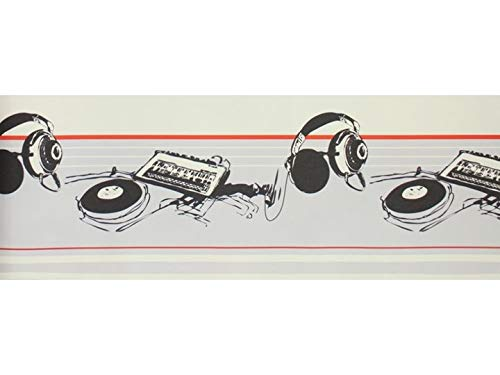 Bordüre KopfhörerSchallplatte grau schwarz rot Musik