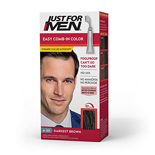 Just For Men Easy Comb-In Color (Formerly Autostop), Gray Hair Coloring for Men with Comb Applicator Included, Easy No Mix Application - Darkest Brown, A-50 (Packaging May Vary)