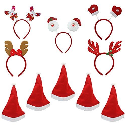 Moji Pack de 5 Sombreros de Navidad con 5 Diademas, Sombreros de Navidad Unisex Papa Noel con Diademas de Navidad HeadBoppers, Clásicos Sombreros tematicos de Navidad, Año Nuevo, Festivo y Fiestas. ✅