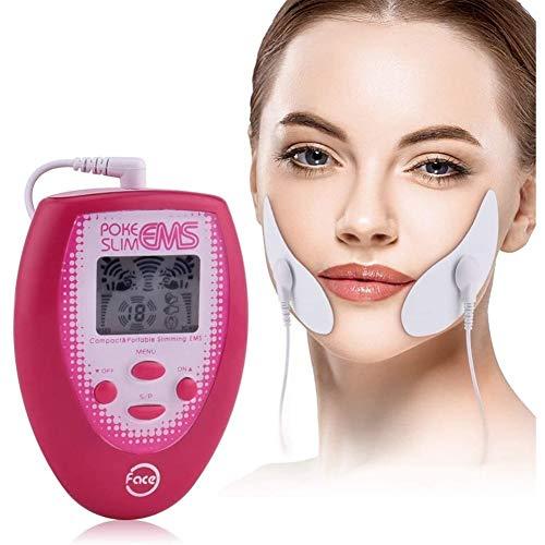 LYHD Masaje Facial Eléctrico Estimulación Muscular Electrónica + 2 uds Electrodos Pegatina para la Cara + 2 Pegatinas para la Cara Masajeador Facial Herramienta para Adelgazar