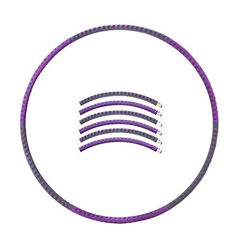 LZQpearl Hula Hoop con Peso para Adultos, Núcleo Interior De Acero Inoxidable, Carcasa De Espuma De Algodón, 6 Secciones, Diseño Desmontable, para Fitness, Pérdida De Peso, Baile (Purple&Grey)