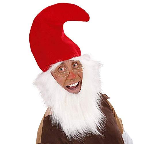 Widmann 3061D – Zwergen Mütze, rot, mit angenähtem weißem Bart und Augenbrauen, Gnom, Märchenwelt, Hüte, Kopfbedeckung, Motto Party, Karneval
