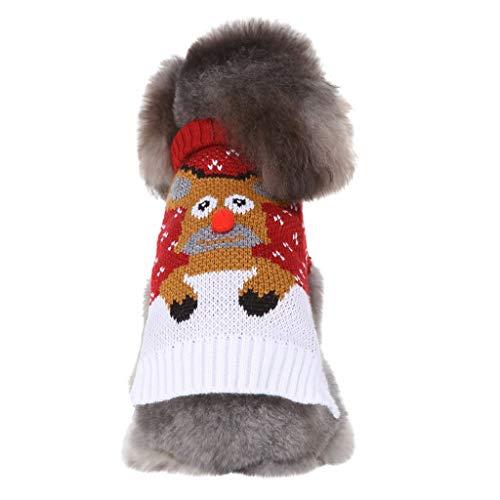 BBring Weihnachten Pullis für Katzen Hunde, Revers Stricken Hundepullover Elch Hundekleidung 2 Beine Haustier Bekleidung Warm Winterpullover für Kleine Hunde Hündchen Kätzchen (S, Rot)