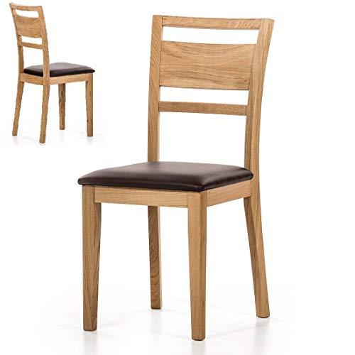 Stühle 2 Küchenstühle Wildeiche Bezug Leder braun 2 Esszimmerstühle 2 Wildeiche - (3845)