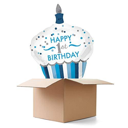 CREATIV DISCOUNT Ballongrüße / Geschenkballons / Ballonversand, Happy 1st Birthday blau, 1 Ballon