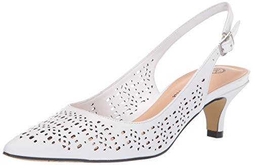 Bella Vita Women's Sybil Cutout Slingback Pump, White Leather, 9.5 2W US