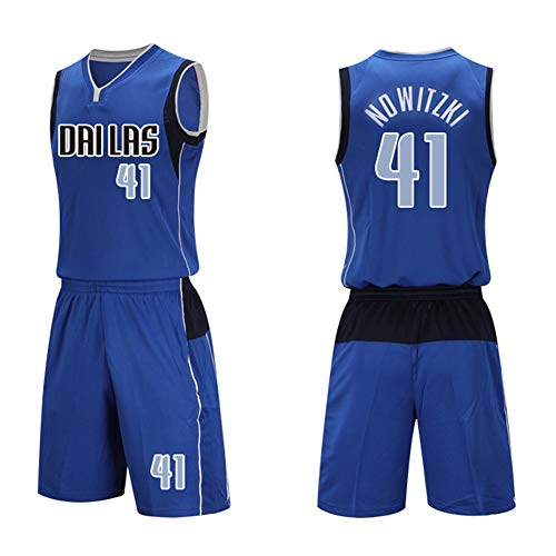 Man Trikots Fan Dallas Mavericks Nr. 44 Dirk Nowitzki Basketball Trikot Uniform: Mesh Weste Shirt + Sommershorts-Blue-XL