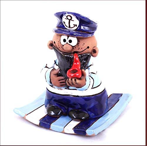 Kapitän Seemann mit Pfeife und Teller aus Keramik - Handarbeit - Räucherfigur Räuchermann raucht aus der Pfeife - Dekofigur Keramikfigur -