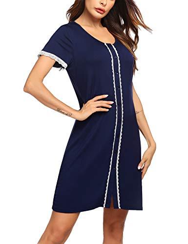 Ekouaer Women's Sleepshirt Dress Lace Trim Nightshirt Comfy Short Sleeve Button Nightgown