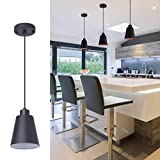 Modern Black Pendant Light Fixture 5.94'' (3-Pack) Mini 1-Light Pendant Lighting 3-Pack for Kitchen Island Industrial Hanging Pendant Light Cup Shade for Dining Room,Foyer,Hallway,Bar