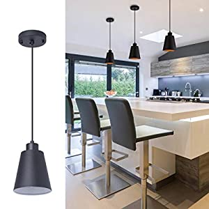 Black Pendant Light Kitchen Island Pendant Lighting with 5.94in Metal Shade Modern Hanging Light for Kitchen Small Pendant Light Fixture for Dining Room,Foyer,Hallway,Bar, with 78in Flexible Cord
